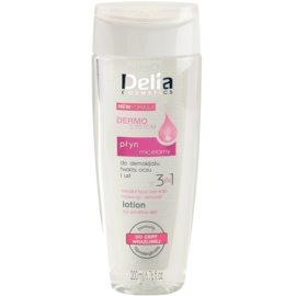 Delia Cosmetics Dermo System agua micelar limpiadora para contorno de ojos y labios 3 en 1  200 ml