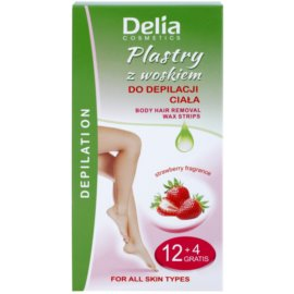 Delia Cosmetics Depilation Strawberry Fragrance szőrtelenítő gyantacsík testre  16 db