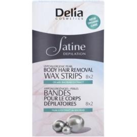 Delia Cosmetics Satine Depilation Hypoallergenic Pearl szőrtelenítő gyantacsík testre  16 db