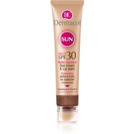 Dermacol Sun Water Resistant creme solar resistente à água com bálsamo labial SPF 30  30 ml