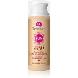 Dermacol Sun Water Resistant loción facial con color y resistente al agua SPF 50  50 ml