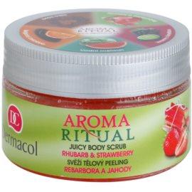 Dermacol Aroma Ritual esfoliante corporal refrescante ruibarbo e morangos  200 g