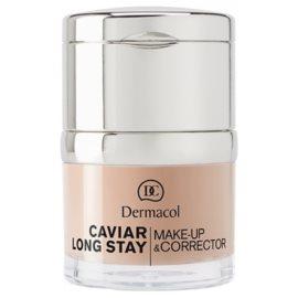 Dermacol Caviar Long Stay dlouhotrvající make-up s výtažky z kaviáru a zdokonalující korektor odstín 1 Pale  30 ml