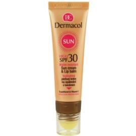 Dermacol Sun Water Resistant voděodolný pleťový krém na opalování s balzámem na rty SPF 30  30 ml