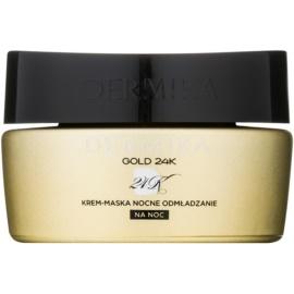 Dermika Gold 24k Total Benefit Cremige Nachtmaske mit regenerierender Wirkung  50 ml