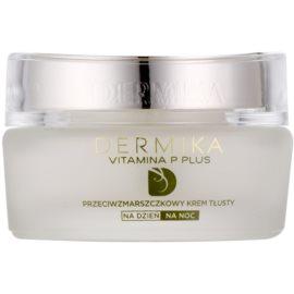 Dermika Vitamina P Plus crema nutritiva antiarrugas  para pieles sensibles con tendencia a las rojeces  50 ml