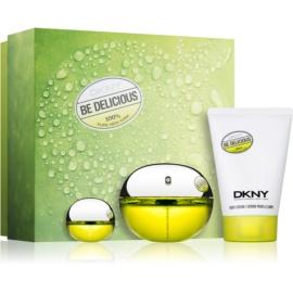 DKNY Be Delicious darilni set XIV. parfumska voda 100 ml + parfumska voda 7 ml + losjon za telo 100 ml