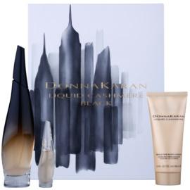 DKNY Liquid Cashmere Black подаръчен комплект I. парфюмна вода 100 ml + парфюмна вода 7 ml + мляко за тяло 100 ml