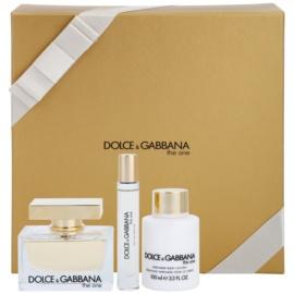 Dolce & Gabbana The One zestaw upominkowy XI.  woda perfumowana 75 ml + woda perfumowana 7,4 ml + mleczko do ciała 100 ml