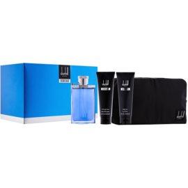 Dunhill Desire Blue ajándékszett V.  Eau de Toilette 100 ml + tusfürdő gél 90 ml + borotválkozás utáni balzsam 90 ml + kozmetikai táska