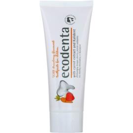 Ecodenta Kids creme dental para crianças com aroma de morangos silvestres e extrato de cenoura  75 ml