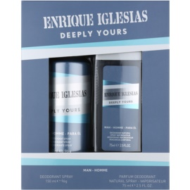 Enrique Iglesias Deeply Yours coffret II.  desodorizante em spray 150 ml + desodorizante em spray 75 ml