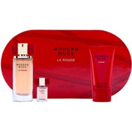 Estée Lauder Modern Muse Le Rouge set cadou I.  Eau de Parfum 50 ml + lapte de corp cu efect de strălucire 75 ml + Eau de Parfum 4 ml