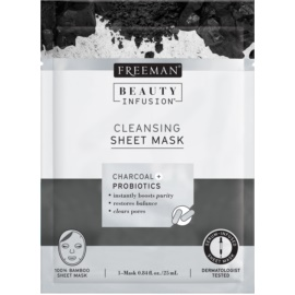 Freeman Beauty Infusion Charcoal + Probiotics Activated Charcoal Cleansing Sheet Mask for All Skin Types  25 ml