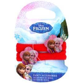 Frozen Princess Haargummis aus Baumwolle mit Dekoblume ab 3 Jahren (Red) 2 St.