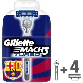 Gillette Mach 3 Turbo FCBarcelona brivnik + nadomestne britvice 4 kos