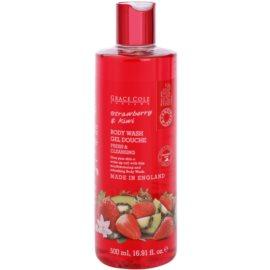 Grace Cole Fruit Works Strawberry & Kiwi osvěžující sprchový gel bez parabenů  500 ml