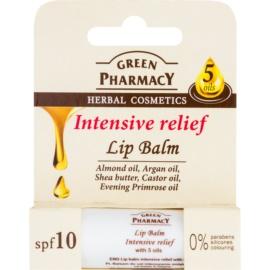 Green Pharmacy Lip Care intensives Feuchtigkeit spendendes Lippenbalsam SPF 10 ohne Silikone, Parabene und Farbstoffe  3,6 g