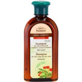 Green Pharmacy Hair Care Ginseng šampon pro mastnou vlasovou pokožku a suché konečky  350 ml