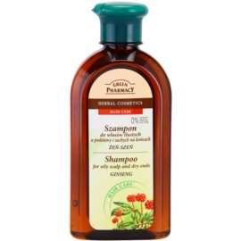 Green Pharmacy Hair Care Ginseng champú para cuero cabelludo graso y puntas secas  350 ml
