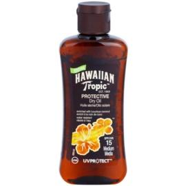 Hawaiian Tropic Protective wodoodporny suchy olejek ochronny do opalania SPF 15  100 ml