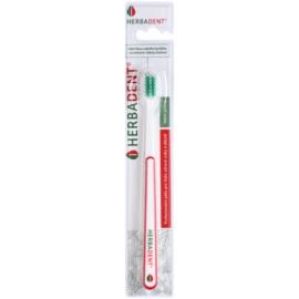 Herbadent Dental Care escova de dentes com cabeça curta extra suave White/Red & Green