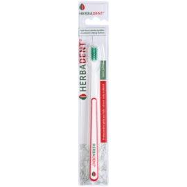 Herbadent Dental Care zubná kefka s krátkou hlavou extra soft White/Red & Green