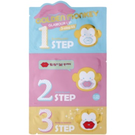 Holika Holika Golden Monkey Set für schöne Lippen in drei Schritten  5,5 g