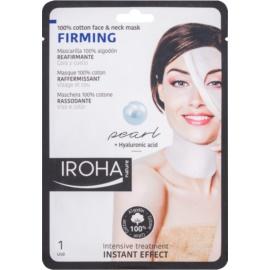 Iroha Firming Pearl bavlněná maska na obličej a krk s perlovým a hyaluronovým sérem