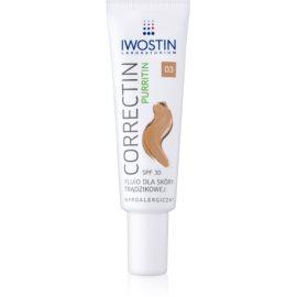 Iwostin Purritin Correctin fluido para reduzir o acne da pele a longo prazo SPF30 tom Warm Beige 30 ml