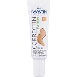 Iwostin Purritin Correctin dlouhodobě krycí matující fluid pro aknózní pleť SPF30 odstín Natural 30 ml