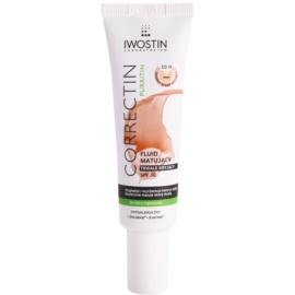 Iwostin Purritin Correctin стійкий тонуючий матуючий флюїд для шкіри з акне SPF 30 відтінок Light 30 мл