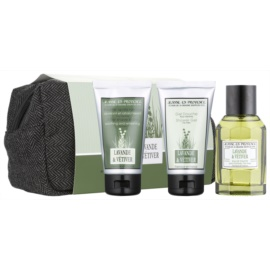 Jeanne en Provence Lavander & Vétiver Geschenkset I.  Eau de Toilette 100 ml + After Shave Balsam 75 ml + Duschgel 75 ml + Kosmetiktasche