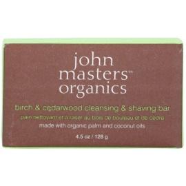 John Masters Organics Birch & Cedarwood Cleansing & Shaving Bar multifunkční mýdlo pro muže i ženy  128 g