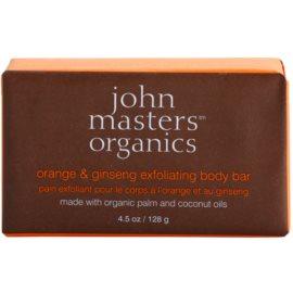 John Masters Organics Orange & Ginseng jemné tělové peelingové mýdlo  128 g