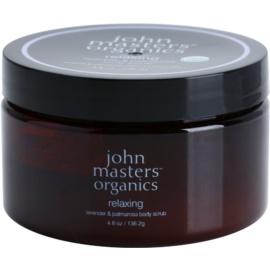 John Masters Organics Lavender & Palmarosa rozjasňující tělový peeling pro jemnou a hladkou pokožku  136 g