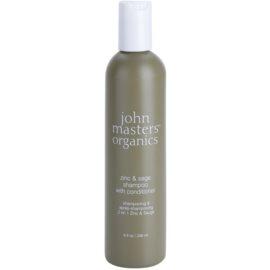John Masters Organics Zinc & Sage šampon in balzam 2 v1 za razdraženo lasišče  236 ml