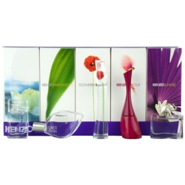 Kenzo Miniatures Collection dárková sada II. Jungle + Amour + Flower + D´Ete + L´Eau par Kenzo parfémovaná voda 5 ml + parfémovaná voda 2 x 4 ml + parfémovaná voda 3,5 ml + toaletní voda 5 ml
