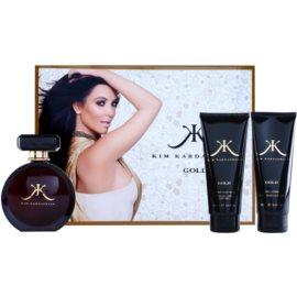 Kim Kardashian Gold dárková sada I. parfémovaná voda 100 ml + tělové mléko 100 ml + sprchový gel 100 ml