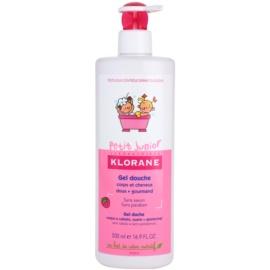 Klorane Petit Junior gel de dus pentru corp si par cu arome de zmeura  500 ml
