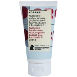 Korres Body Almond Oil & Vitamin C Handcreme gegen Pigment-Flecken LSF 15  75 ml