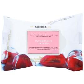 Korres Face Pomegranate čistiace utierky pre zmiešanú a mastnú pleť  25 ks