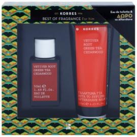 Korres Vetiver Root (Green Tea/Cedarwood) подаръчен комплект I. тоалетна вода 50 ml + балсам след бръснене 125 ml