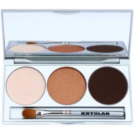 Kryolan Basic Eyes paleta očních stínů se zrcátkem a aplikátorem odstín Smokey Beige 7,5 g