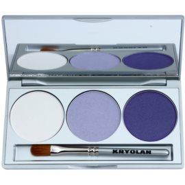 Kryolan Basic Eyes paleta očních stínů se zrcátkem a aplikátorem odstín Smokey Purple 7,5 g