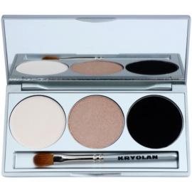 Kryolan Basic Eyes paleta očních stínů se zrcátkem a aplikátorem odstín Smokey Sand 7,5 g