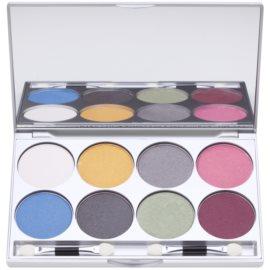 Kryolan Basic Eyes палетка тіней для повік 8 кольорів з дзеркальцем та аплікатором відтінок Iridescent 24 гр