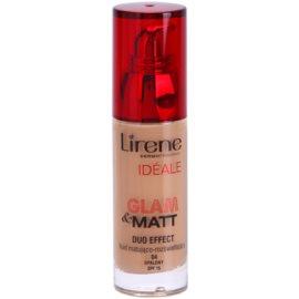 Lirene Idéale Glam&Matt matující fluidní make-up pro rozjasnění pleti odstín 04 Tanned SPF 15  30 ml