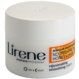 Lirene Moisture & Nourishment crema rejuvenecedora y alisadora con miel y limón  50 ml