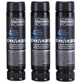 L'Oréal Professionnel Homme Cover 5' tonirana barva za lase 3 kos odtenek 4 Medium Brown  3x50 ml